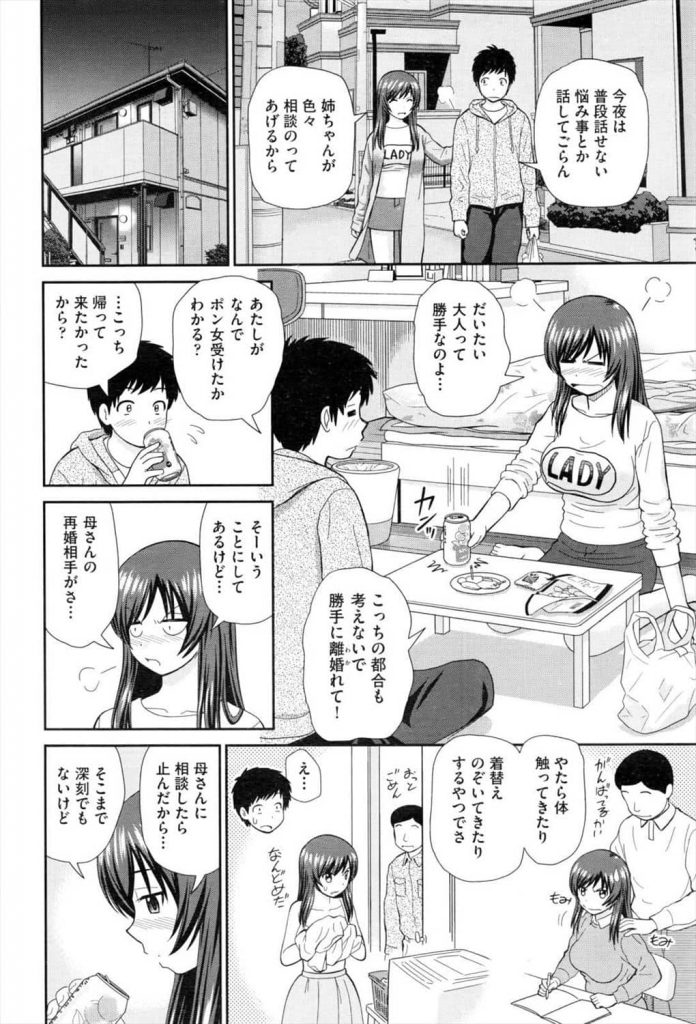 【えろ漫画】両親の離婚以来久し振りに再会した姉が一人暮らしを始め時々泊まりに行くようになり、そうなるやっぱり、アレがソレで…【杜拓哉】