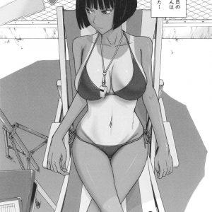 【エロ漫画】失恋して髪を切りビキニ水着で来たプール監視員のお姉さん!更衣室で少年が日焼け跡のボディを見て勃起してくれた事に喜び筆おろしSEX!