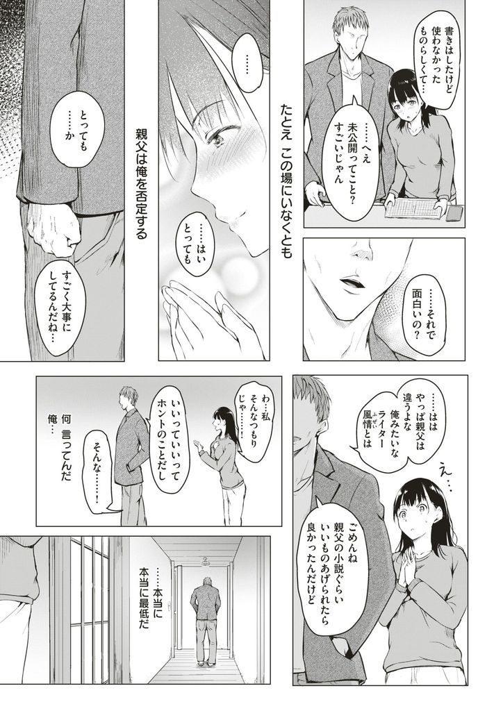 【エロ漫画】遠い親戚の美少女JKと暮らす事になったライターの男が寝てる時に告白され後ろからおっぱいを揉みしだき初物マンコに生ハメしていちゃラブH!